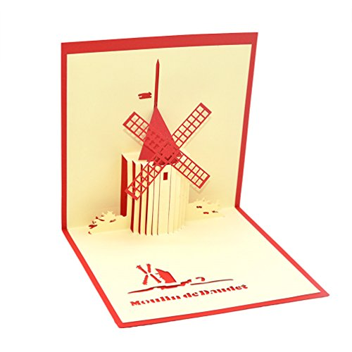 medigy 3D Pop up Grußkarte Congratulations für die meisten occastions, Niederlande Windmühle