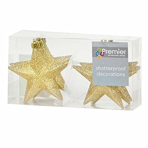 Arbre de Noël Décoration Incassable Lot de 6100mm paillettes étoiles–Doré