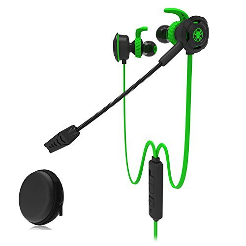 HD Gaming Headset mit Mikrofon 3.5mm in-Ear Noise Cancelling Tragbare Mobile Game in-Ear für iPhone 6/Samsung S8Smartphones Tablet PC PS4Etc. Grün G30-GN (Gn Mobile Adapter)