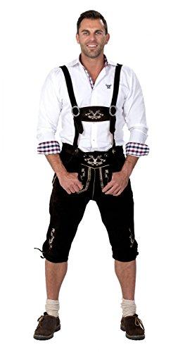 Almwerk Herren Trachten Lederhose Kniebund Modell Hipster, Farbe:Schwarz;Lederhose Größe Herren:52 (Leder Schwarz Hipster)