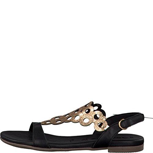 Tamaris Damen Sandaletten Schwarz/Rotgold, Schuhgröße:EUR 39 -