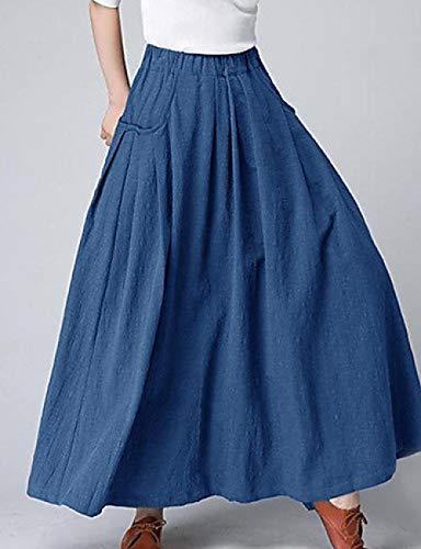 DSKILT Frauen Street Chic/Sophisticated Swing/Bloomers Röcke - Einfarbig Patchwork Dunkelgrau Wein Khaki, Blau, L -