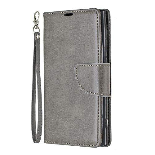 Docrax Handyhülle Lederhülle für Sony Xperia XA2, Flip Case Schutzhülle Hülle mit Standfunktion Kartenfach Magnet Brieftasche für Sony Xperia XA2 - DOBFE150585 Grau - Gerahmte Geldbörse Aus Leder