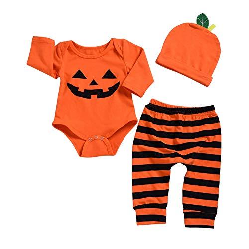 Baywell Baby Jungen Mädchen Strampler Set, Kinder Baby Halloween Kostüm Langarm Body + Hosen + Hut 3 STÜCKE Sets (S/3-6Monat/80, B)