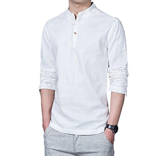 Deylaying Herren Pure Farbe Baumwolle Leinen Hemd Schlank Lange Ärmel T-Shirt Jacke Tops Komfort (Jacke Leinen Sport)