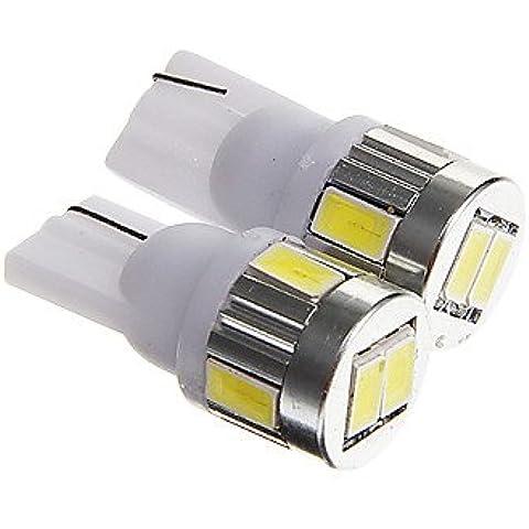 FULLModerna auto lampadina T10 3W 250LM 6000-6500K 6-SMD 5730 LED freddo Licenza zolla bianca / lettura DC12V 2PCS