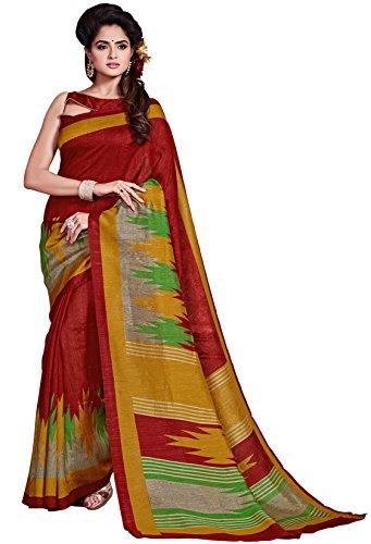 Classic Enterprise Sarees Daily Wear Stripe & Geometric Print Maroon Color Cotton Sari With Blouse (Malgudi-4347)