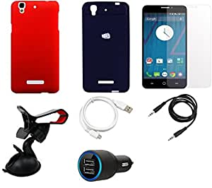 NIROSHA Tempered Glass Screen Guard Cover Case Car Charger USB Cable Mobile Holder car Combo for YU Yureka Combo
