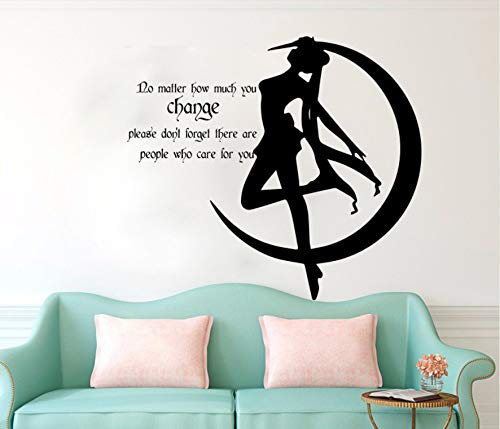 Cartone Animato Candela Giapponese Moon Wall Sticker Baby Nursery Maniglia Anime Girls Caring Quote Adesivo Camera Per Bambini Cut Vinyl Decor 80X72Cm