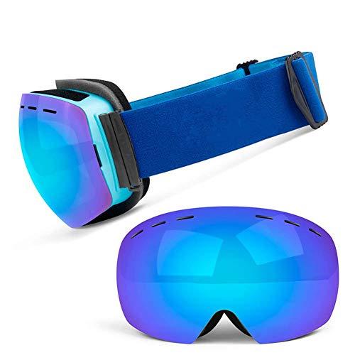 JXS-Goggles Skibrille, Doppelschichtlinse, Anti-Fog, Anti-UV, Schneesicher, Objektiv austauschbar, kann mit Myopie-Brillen verwendet Werden,F