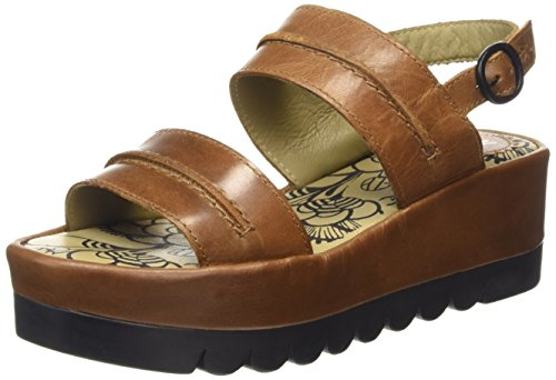 FLY London Baku635fly, Sandales  Bout ouvert femme Marron (CAMEL 006)
