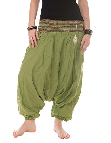 Vishes - Alternative Bekleidung - Baumwoll Haremshose mit gestreiftem Bund Wiesengrün
