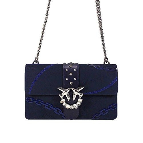Jacquard-stoff-tasche (PINKO Damen Accessoires Love Bag Tasche Blau Jacquard Frühling-Sommer 2018)