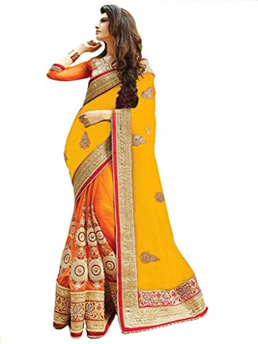 Party Wear Saree For Women's ( Vinayak Textile Women's Lovely Yellow and Orange Colored Pure Georgette and Net Party Wear Saree)  available at amazon for Rs.1445