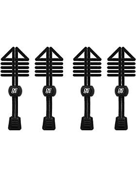 Paquetes de cordones elásticos con cierre de velcro, para ejecutar/triatlón & UK-vendedor - 2 SETS BLACK