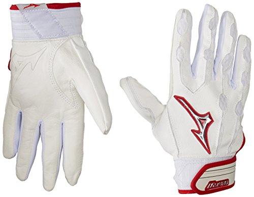 Mizuno Youth Covert Batting Handschuhe, Herren, weiß/rot