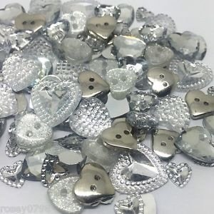 Rosey's Craft Shop Sparkle SILVER HEART Flatback And Button Mix Embellishment Cadmaking Wedding Invites by Rosey's Craft Shop