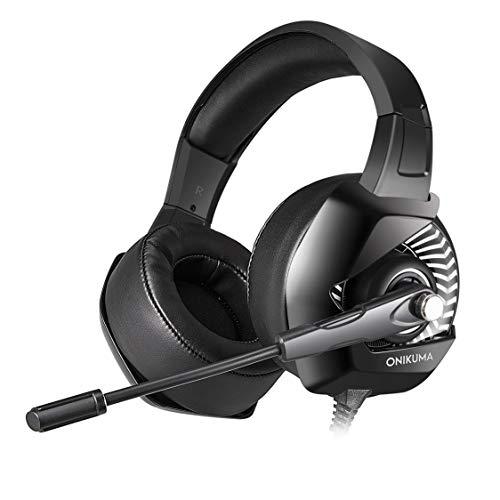 ONIKUMA K6 Portable Anti-Lärm Super Bass Stereo Kopfhörer Laptop Computer Spiel Headset mit Mikrofon Stretchable Stirnband - Black & White