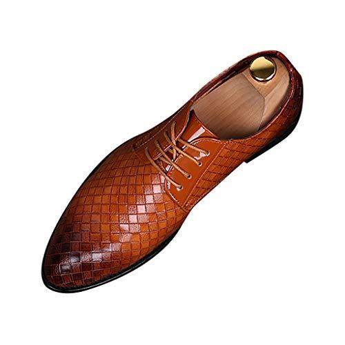 FNKDOR Schuhe Herren Spitz Geschäft Lederschuhe Lackleder Berufsschuhe Britischer Stil Gewebtes Muster Schnürsenkel Freizeit Kleid Schuhe Business-Schuhe Orange 45 EU