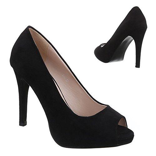 Scarpe Da Donna, L-11, Scarpe Con Tacco Alto In Peep Toe Nero