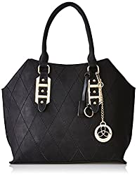 Ladida Ladida Collection Womens Satchel with Pouch and Charm (Black) (Set of 3) (2017-3 BLACK)