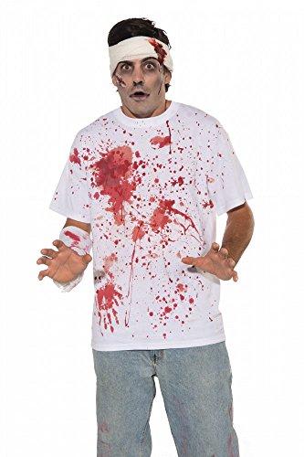 shoperama Herren T-Shirt mit photorealistischen Blutspritzern Gr. M/L Halloween Zombie blutig (Blutige T-shirt Halloween)