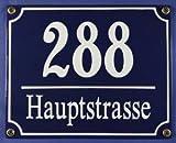 Süddeutsches Emaille Hausnummernschild mit Wunschzahl / Text 20x16 cm