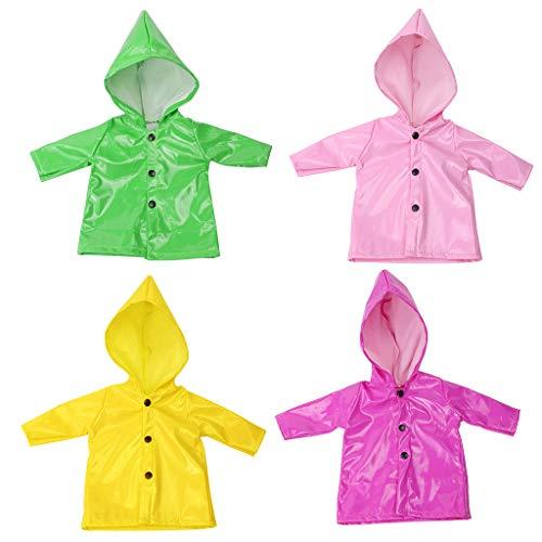 FLAMEER 4 Stücke Candy Farbe Regenmantel Kleidung Für 18 Zoll Puppe Outfits Candy Dress Up