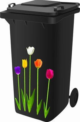 Mülltonnensticker, Mülltonnenaufkleber, Motiv: Tulpen (Zwerg-lilie)