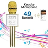 Q9 Portable Multi-function Wireless / Bluetooth Karaoke Microphone . Handheld Condenser Microphone with Bluetooth Speaker for iPhone iPad iPod and All Smartphone , Laptops & Computers (Gold)