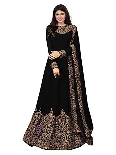 Royal Export Women's Georgette A-line Long Party Wear Semi-Stitched Dress Material (Coding-Black-Dress Material_Black_Free)