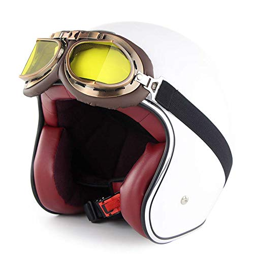 LYJNBB Casco Mezzo Motociclista, Open Face Caschi Harley Vintage con occhialini Cinturino sgancio rapido per Bike Cruiser Scooter DOT Approvato,White,L