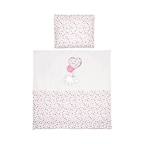 Home Bettwäsche (Bornino Home Bettwäsche Flying Dumbo 35x40 / 80x80 cm - Bettdeckenbezug mit Reißverschluss & Kopfkissenbezug mit Hotelbezug - Tier-Applikation - rosa)