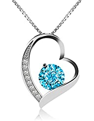 J.Rosée,Collar de plata de ley con diamante para mujer,Con una caja(45cm de longitud)