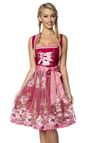 Dirndline Premium Damen Dirndl Trachten Kleid Blumen Ornament mit Stickereien und Schürze Geblümt Rosa Pink Rot Gold 3XL (Mit Rote Gold Schürze)