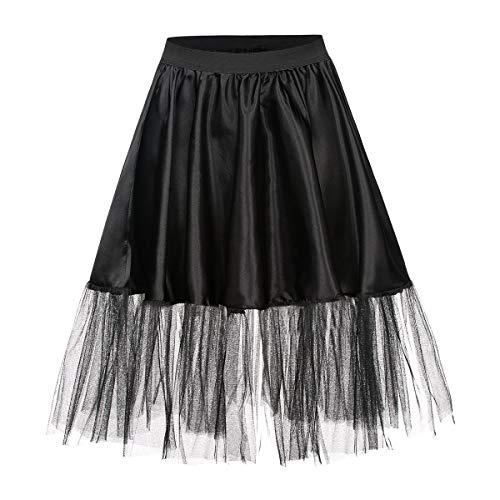 Kostümplanet® Petticoat schwarz mit Gummiband und Tüll Tutu Petti Coat Unterrock schwarzer Petticoat (Halloween-kostüme Mit Röcken)