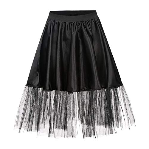 Kostümplanet® Petticoat schwarz mit Gummiband und Tüll Tutu Petti Coat Unterrock schwarzer Petticoat (Mouse-halloween-kostüme Erwachsene Minnie)