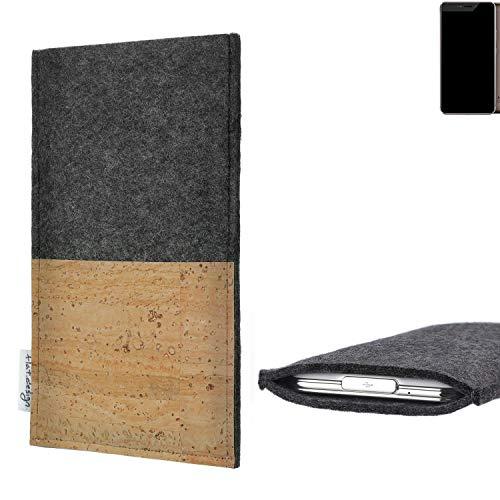 flat.design Handytasche Evora mit Korkfach für Allview X4 Xtreme - Schutz Case Etui Filz Made in Germany in hellgrau mit Korkstoff - passgenaue Handy Hülle für Allview X4 Xtreme