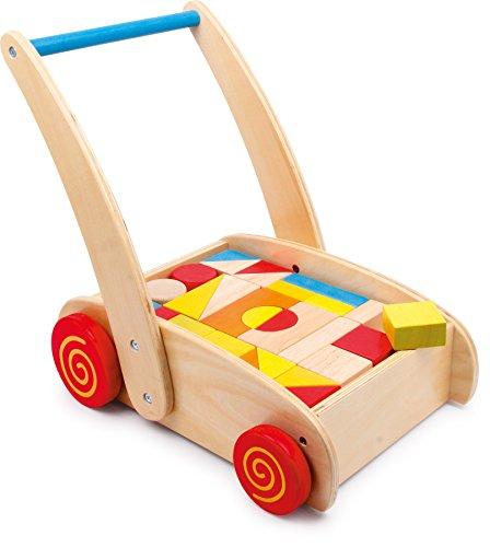 small foot 2695 chariot de marche 'Blocs de construction' en bois, avec compartiment pour les blocs, développe la compréhension des couleurs et des formes, à partir de 1 an