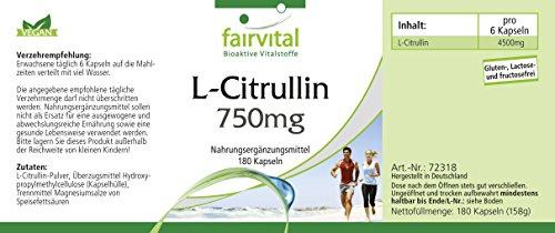 L-Citrullin 750mg – für 1 Monat – VEGAN – HOCHDOSIERT – 180 Kapseln – Aminosäure