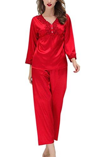 e001297740 Aivtalk Damen Pyjama Set Schlafanzug aus Kunstseide lang Hose VAusschnitt  Nachthemd Für Braut Fashion Retor Negligee mit Muster Elegante Nachtwäsche  mit ...