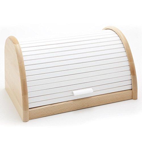 HolzFee BK-BR Buche Brot-Kasten 39 cm Holz Brotbox Rollkasten (Weiß)