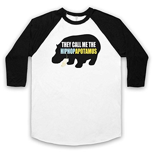 Inspiriert durch Flight Of The Conchords Hiphopapotamus Unofficial 3/4 Hulse Retro Baseball T-Shirt Weis & Schwarz