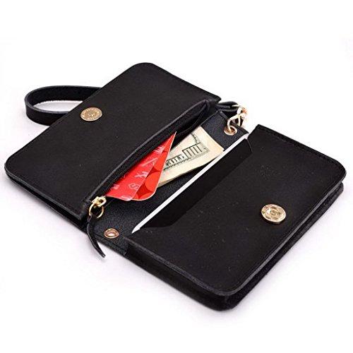 Kroo Pochette Cou en cuir fait Portefeuille avec dragonne pour Smartphone 12,7cm Housse de transport pour Samsung Galaxy S5Mini/A3/Avant peau noir