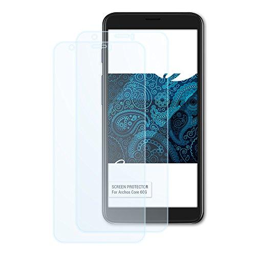 Bruni Schutzfolie für Archos Core 60S Folie, glasklare Bildschirmschutzfolie (2X)