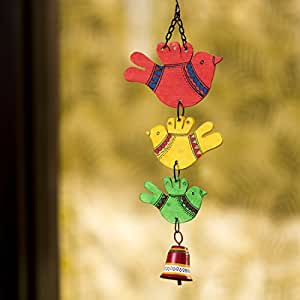 ExclusiveLane 'Birds and Bell' Garden Balcony Wall Decorative Hanging and Wind Chimes for Home with Good Sound (Metal and Wood, 1 Bell)