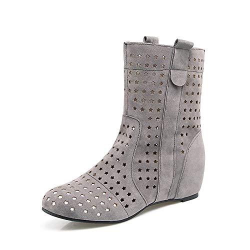 IWxez Damen-Gladiator-Synthetik Spring & Summer Boots Flache Ferse Runde Zehe Wadenstiefel Grau/Gelb/Rot, Grau, US8 / EU39 / UK6 / CN39 -
