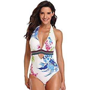 OVINEE Donne Costume Bagno Women Padded Sexy Lace-up Print Backless Bikini Halter One Piece Swimwear Donna Estate Push… 1 spesavip