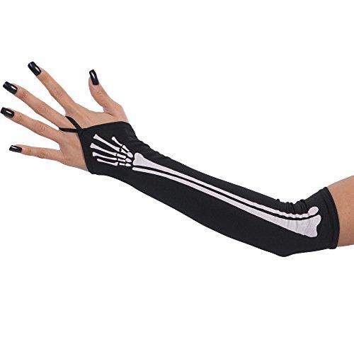 Carnival Toys 3840 Handschuhe Schwarz mit Knochen, 40 cm, one ()