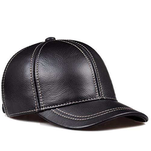QIER-MZ Männer Herbst und Winter mittleren Alters lässig Leder Hut Leder Baseball Cap Ohrenschützer Kappe Brown XL (58 bis 60 cm)